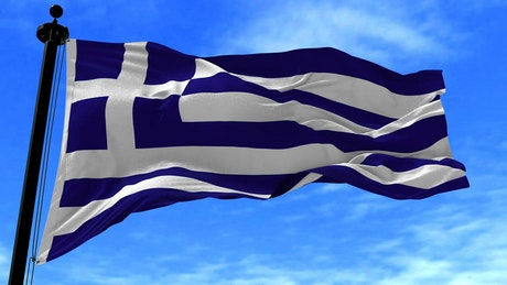 Greece flag waving in slow motion