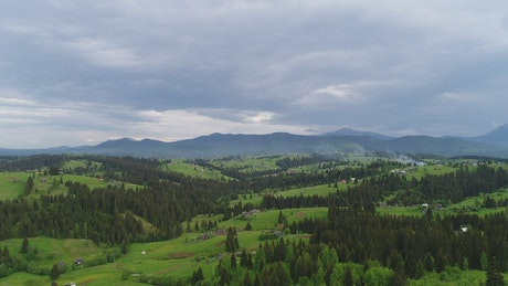 Green mountains in the countryside