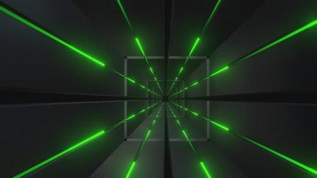 Green neon lights in a futuristic tunnel