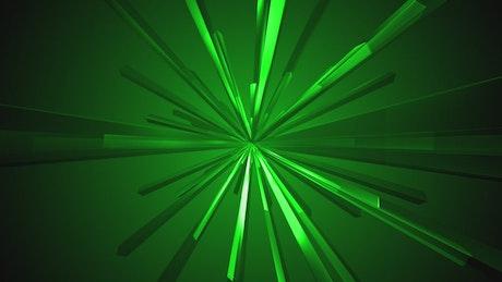 Green rectangular prisms rotating together
