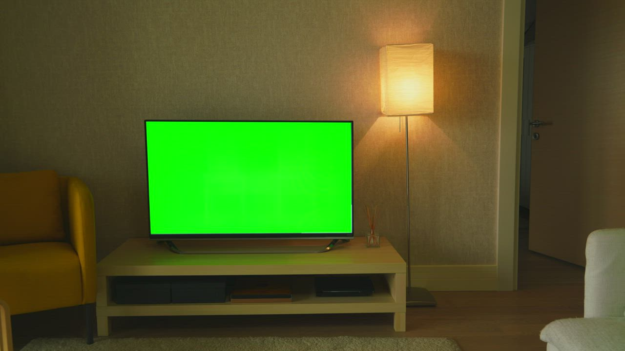 Green Screen Television In The Living Room Free Stock Video