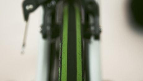Green wheel of a bike