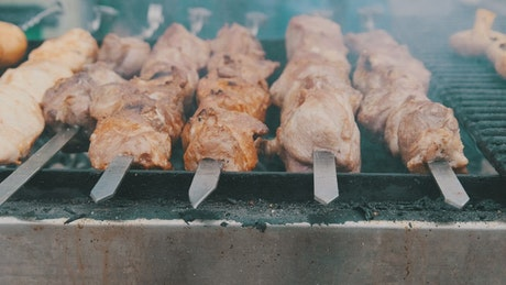 Grilled meat skewers, close up
