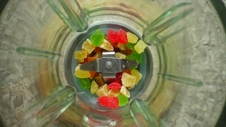 Grinding sweets in the blender, top view