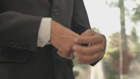Groom wearing the ring in wedding day