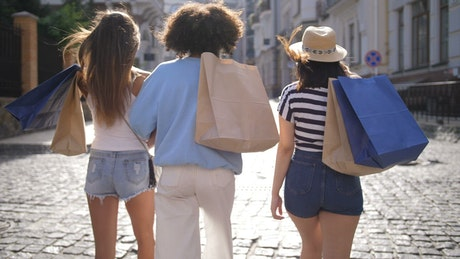 Group of friends out shopping
