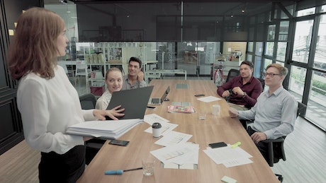 Group of people starting a business meeting