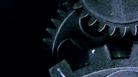 Grunge industrial gears, slow motion