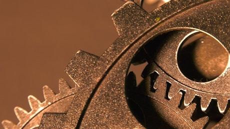 Grunge industrial gears viewed in detail