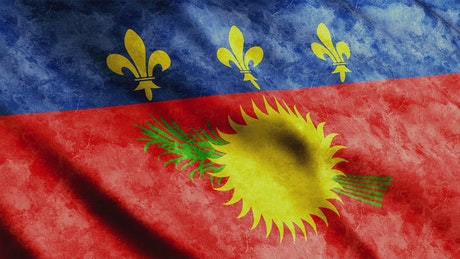 Guadeloupe flag with faded texture, full screen