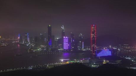 Guangdong illuminated skyscrapers at night