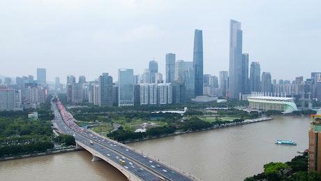 Guangzhou bridge and the city buildings skyline