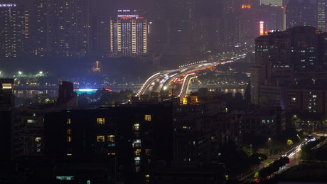 Guangzhou city scape with traffic