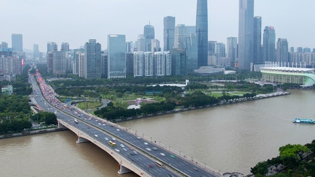 Guangzhou city skyline and bridge