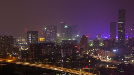 Guangzhou cityscape and city lights and traffic