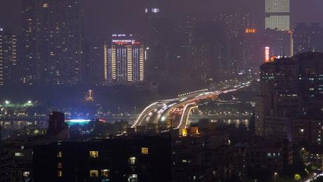 Guangzhou cityscape and traffic