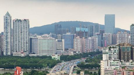 Guangzhou cityscape and traffic at daytime