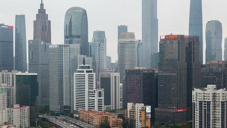 Guangzhou cityscape at daytime, time-lapse