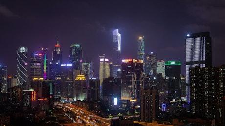 Guangzhou downtown flashing skyscrapers