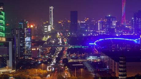 Guangzhou iluminated cityscape and traffic
