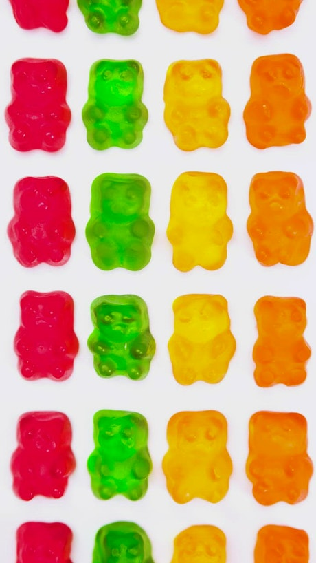 Gummy bears lined up on a white background