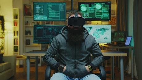 Hacker using VR