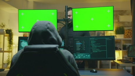 Hackers with multiple screens