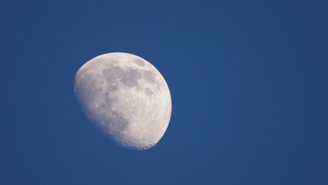 Half moon in the blue sky