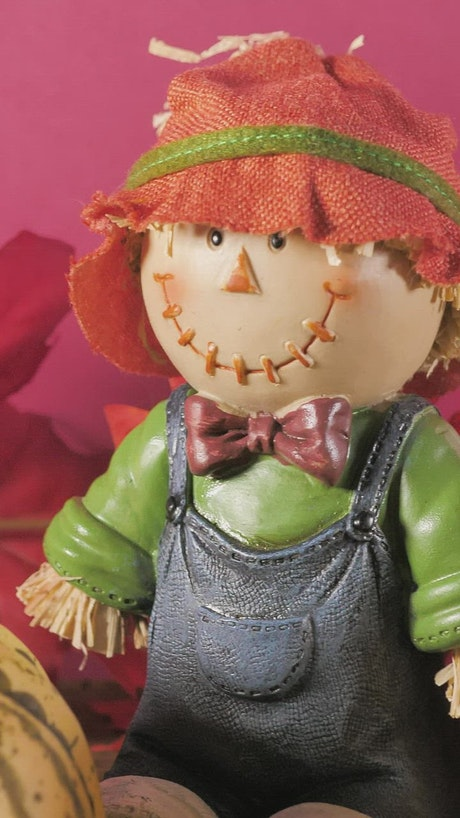 Halloween ornaments and small pumpkins