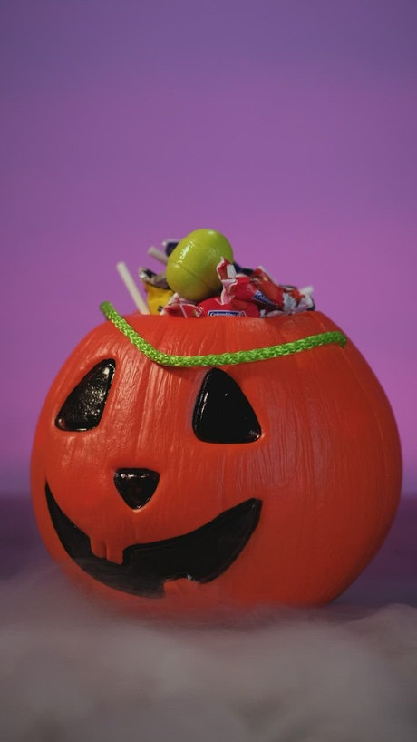 Halloween Pumpkin Basket Full of Candy