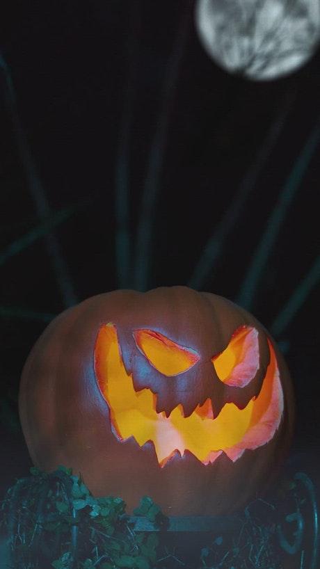 Halloween pumpkin on a gloomy night