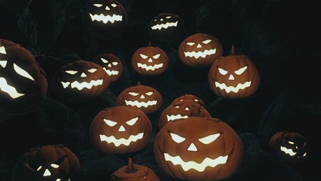 """Halloween"" sign and evil pumpkins falling"