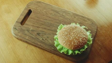 Hamburger and fries on a tray