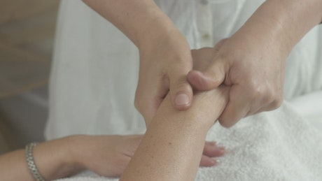 Hand massage in a Beauty Salon