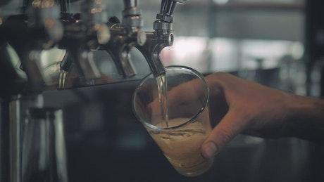 Hand of a bartender serving beer