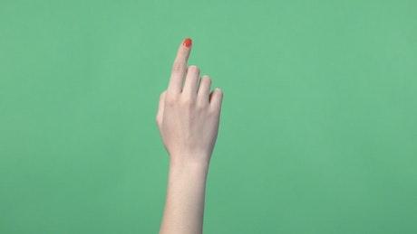 Hand touching a virtual screen