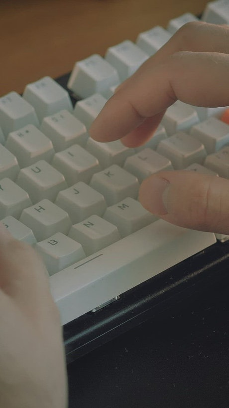 Hands of a person typing on a computer keyboard