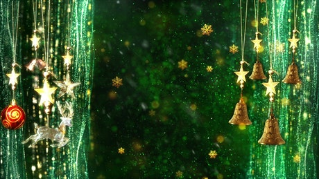 Hanging Christmas Ornaments with Gold Snowflakes