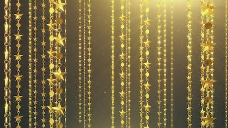Hanging golden stars, 3D animation