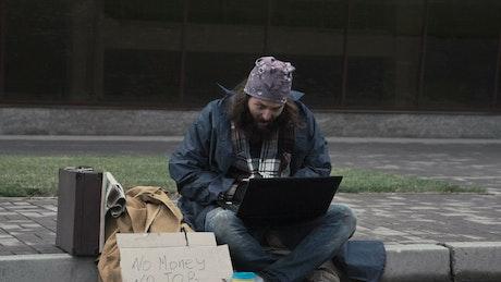 Happy expressive homeless man