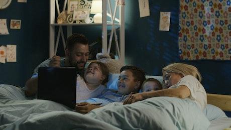 Happy family movie night