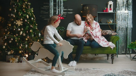 Happy family spending time together at Christmas