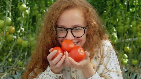 Happy farmer smiling while holding tomatoes on hands