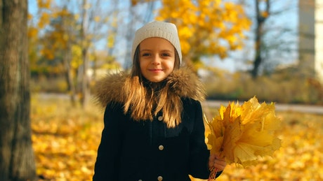 Happy girl with autumn leaves in a park