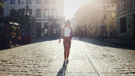 Happy woman enjoying a walk in the city