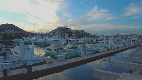 Harbor full of boats and sailboats on a paradisiacal coast