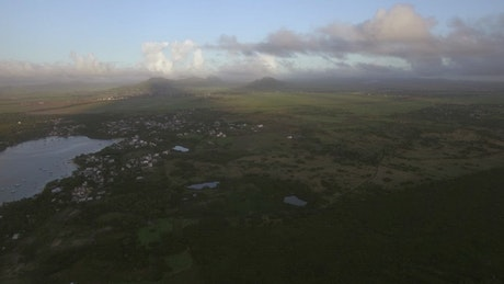 Harbor town on Mauritius