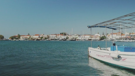 Harbor town with boats on the calm sea