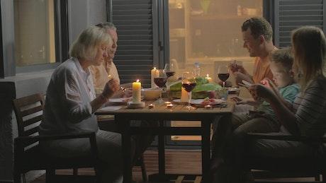 Having dinner outside as a family