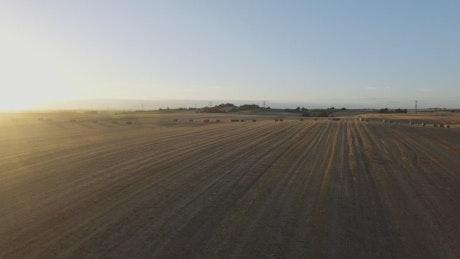 Hay bales across a field